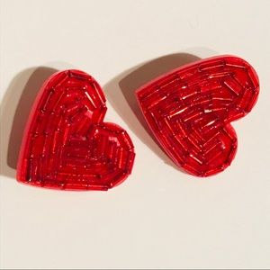 ADORABLE Vintage 80s Red Bead Heart Clip Earrings
